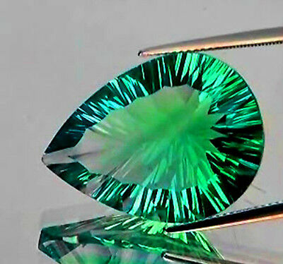 IF~46.58CT PEAR 33x23MM CONCAVE CUT EMERALD GREEN BLUE FLUORITE 100% NATURAL