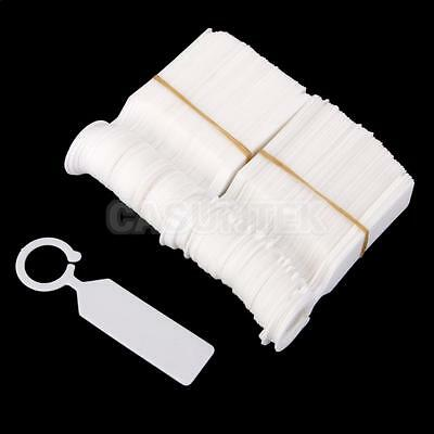 100x PP Greenhouse Gardening Plant Ring Hanging Collar Tag Label White