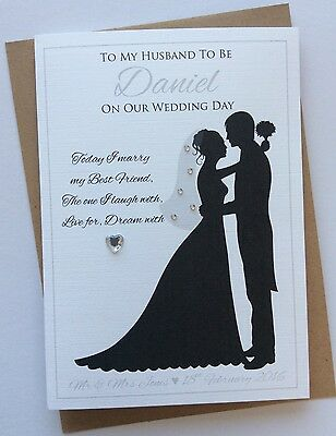 Handmade Personalised Silhouette Husband or Wife To Be On Our Wedding Day Card