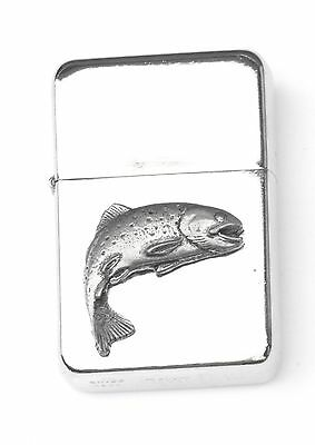 Trout Emblem Windproof Petrol Lighter FREE ENGRAVING Personalised Gift