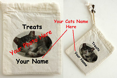 Cotton Treat Bag - Personalised with your Cats Photograph and Name