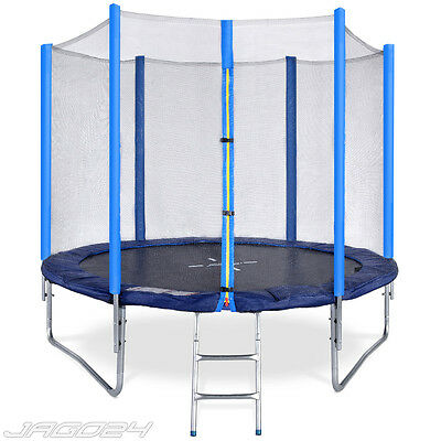 8ft Trampoline with Ladder Safety Net Enclosure Padding Rain Cover Kids Adults