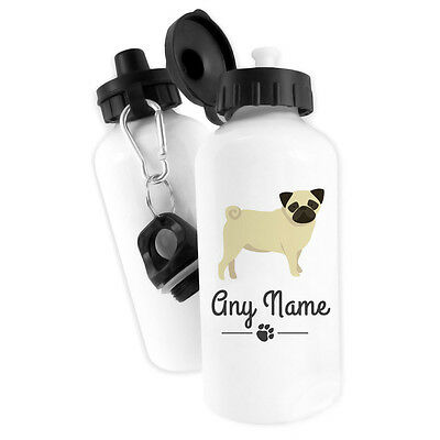 Personalised Pug Dogs Water Bottle 500ml