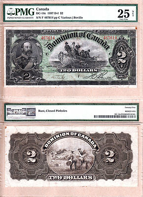 """1897 $2 Dominion of Canada """"Fishing Dory""""  PMG VF25. DC-14c"""