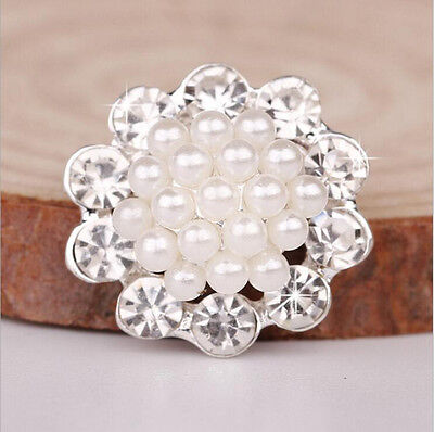 10pcs Wedding Craft Embellishment Crystal Flatback Pearl Brooches DIY  Findings