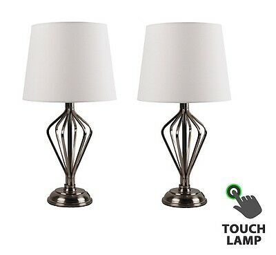 Pair of Contemporary Antique Brass Touch Lamps Bedside Lights w/ Cream Shades