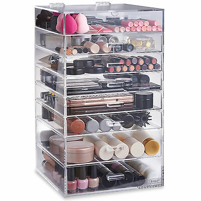 Beautify 8 Tier Acrylic Make Up Organiser Clear Cosmetics Storage Display Drawer