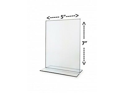 """Stand-Up Two-Sided Desktop Sign Holder, Clear Acrylic, 5"""" x 7"""""""