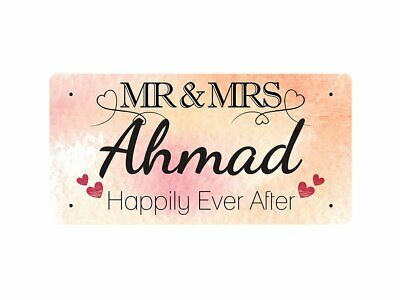 WP_VAL_008 MR & MRS Ahmad - Happily Ever After - Metal Wall Plate