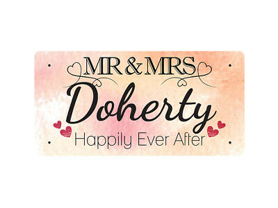 WP_VAL_299 MR & MRS Doherty - Happily Ever After - Metal Wall Plate