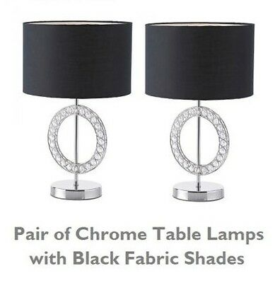 Pair of Contemporary Polished Chrome 43.5cm Tall Table Lamps Bedside Lights