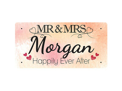 WP_VAL_679 MR & MRS Morgan - Happily Ever After - Metal Wall Plate