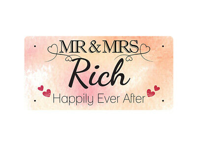 WP_VAL_790 MR & MRS Rich - Happily Ever After - Metal Wall Plate