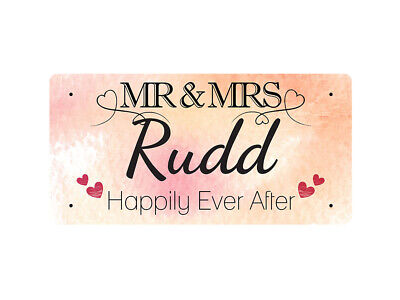WP_VAL_817 MR & MRS Rudd - Happily Ever After - Metal Wall Plate
