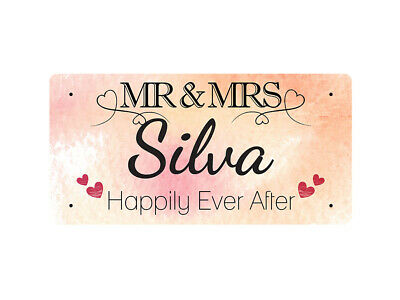 WP_VAL_851 MR & MRS Silva - Happily Ever After - Metal Wall Plate