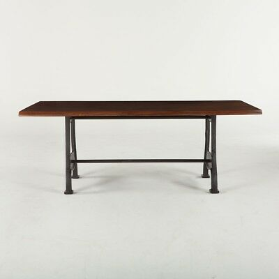 "80"" L Ariana Dining Table walnut top antique zinc finish Hand Crafted"