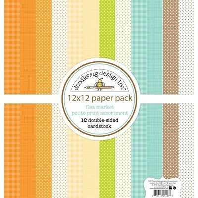 Scrapbooking Crafts 12x12 Paper Doodlebug Flea Market Fall Print Asst Dots Plaid