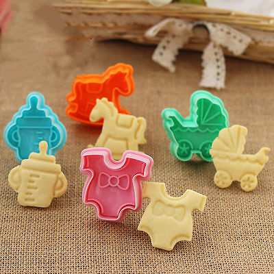 1Set 3D Baby Clothes Shower Hand Press Stamp Biscuit Cookie Plunger Cutter Mold