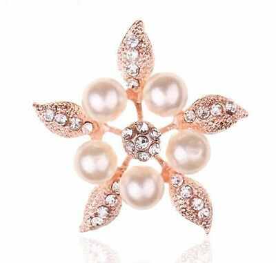 5pcs Pearl Rhinestone Diamante Crystal Rose Gold Flower Flatback Cabochon Bling