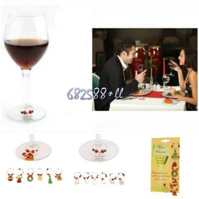 Mixed Christmas Wine Glass Marker XMAS Party Ornaments Table Decoration Set 6L