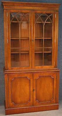 Georgian Style Tall Flame Mahogany Bookcase / Cabinet On Cupboard Base