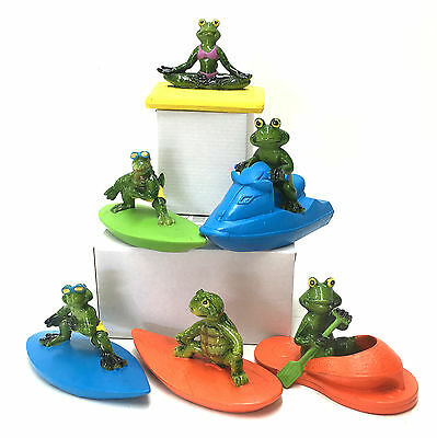 Floating Pond Crocodile Turtle Statue Fountain Garden Figurine Ornament Frog