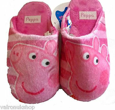 Childs Official Peppa Pig Mules Slippers Pink Sizes 8 & 9