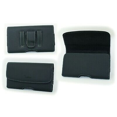 Black Leather Case Pouch Belt Holster with Clip/Loop for Verizon LG K4 VS425