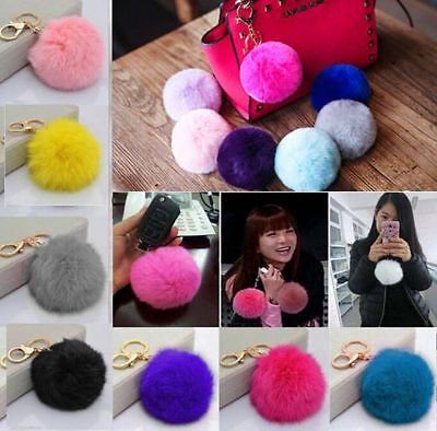 Wholesale Cell Phone Car Keychain Pendant Handbag Key Ring Rabbit Fur Ball Pom