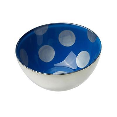 MoMo Panache Condi Bowls Silver with Sapphire Blue and large silver dots pair