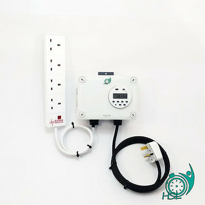 HSL 4 Way Digital Timer Hydroponic Grow Lamp Light Contactor - 4x 660W HPS or MH