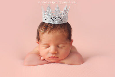 Small Silver Lace Crown - Tiara -Cake Topper Photo Props for Baby Newborn Infant