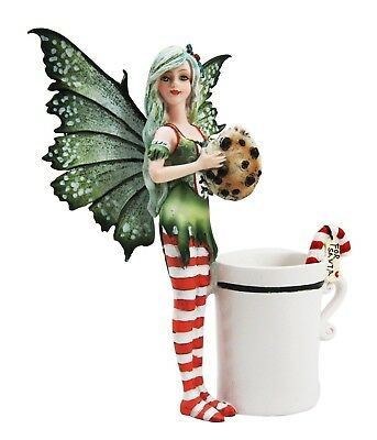 """5.75"""" Tall Amy Brown Fantasy Christmas Cookie Tea Cup Fairy Collector Figurine"""
