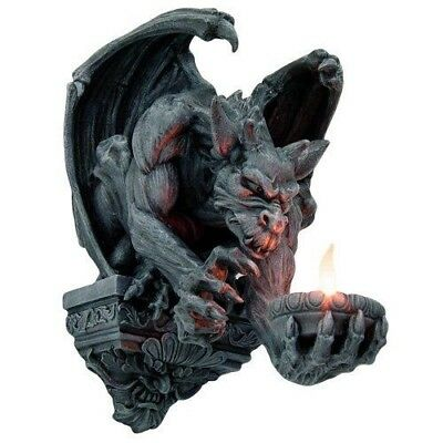 "12.5"" Height Winged Guardian Gargoyle Candleholder Wall Sculpture Figurine Decor"