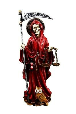 "10.5"" Tall Holy Death Santa Muerte w/ Scythe & Scales Figurine Statue (Red)"