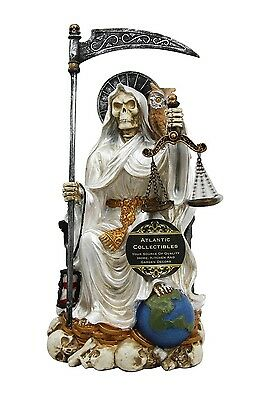 "9"" Tall Holy Death Santa Muerte Sitting On Throne w/ Owl Scales Figurine (White)"