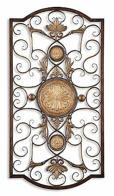 "Ornate Tuscan Old World Fleur De Lis French Country Wall Art Decor Grille 42""H"