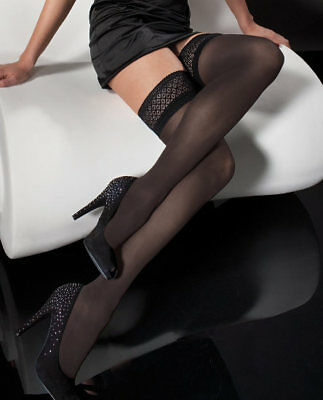 Fiore ESTER 40 Denier Stockings Thigh High Hold Up Hold-Up Nylons Lace Top