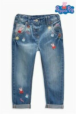 Next Baby Girls Peppa Pig Embroidered Jeans, 3-6, 6-9 and 9-12 Months