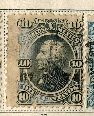 MEXICO;  1874 early classic perf issue 10c. fine used value