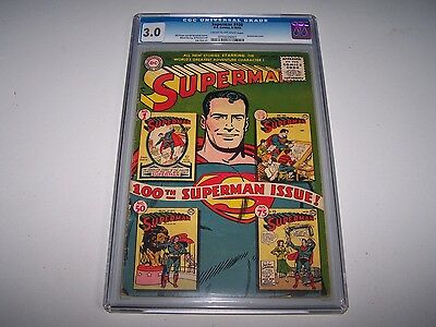 Superman #100 CGC 3.0 CR/OW Unrestored!! ~ *Solid Book! ~ **Anniversary Issue!**