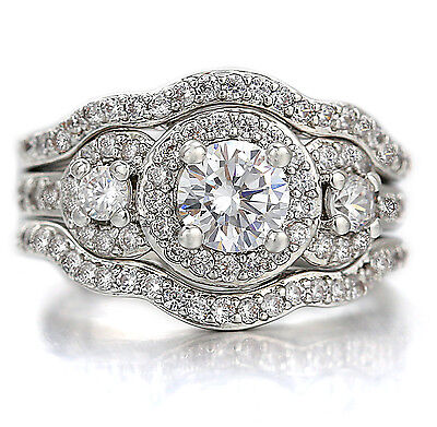 9K White Rose Gold Gf Victorian Trinity 2Ct Lab Diamond Engagement Wedding Rings