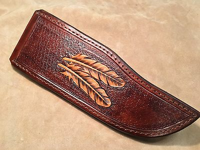 Custom Leather Sheath w/feathers for S1 Patrick Henry Coffin Knife (premium)