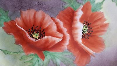 LARGE HAND PAINTED POPPY FLOWER PLATE - BEAUTIFUL VINTAGE CHINA PLATE by JOHNSON