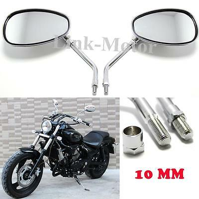 pair of LARGE chrome UNIVERSAL motorcycle mirrors 10mm thread REARVIEW MIRRORS