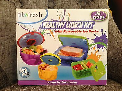 HEALTHY LUNCH To Go Meal Meals Containers REUSABLE 13pc Set w/ICE PACKS BPA Free