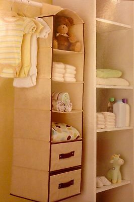 Nwt 6 Shelf 2 Drawers Hanging Closet Organizer Baby Nursery Accessory  Storage