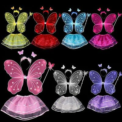 4Pcs Kids Baby Girls Fairy Costume Set Headband Butterfly Wings Wand Tutu Skirt