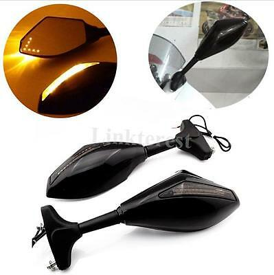 Black Led Turn Signals Integrated Indicator Rearview Racing Mirrors Smoke Arrow