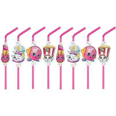 Shopkins Birthday Party Supplies Favours Plastic Drinking Straws (Pack Of 8)
